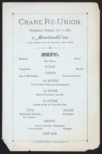 """DINNER [held by] CRANE RE-UNION [at] """"MARTINELLI'S, NEW YORK, NY."""" (REST;)"""