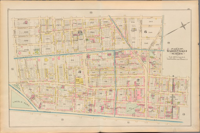 Essex County, Left Page Plate: [Map bounded by Barclay St., Howard St., Broad St., Spruce St.]