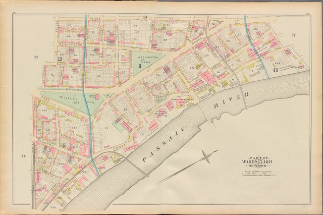 Essex County, Left Page Plate: [Map bounded by Plane St., Passaic River, Market House, Cedar St., Warren St.]