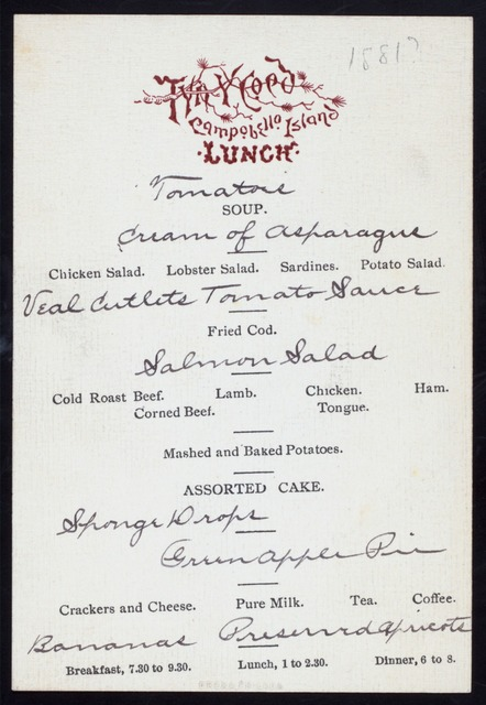 LUNCH [held by] TYNY COED [at] CAMPOBELLO ISLAND (COMM)