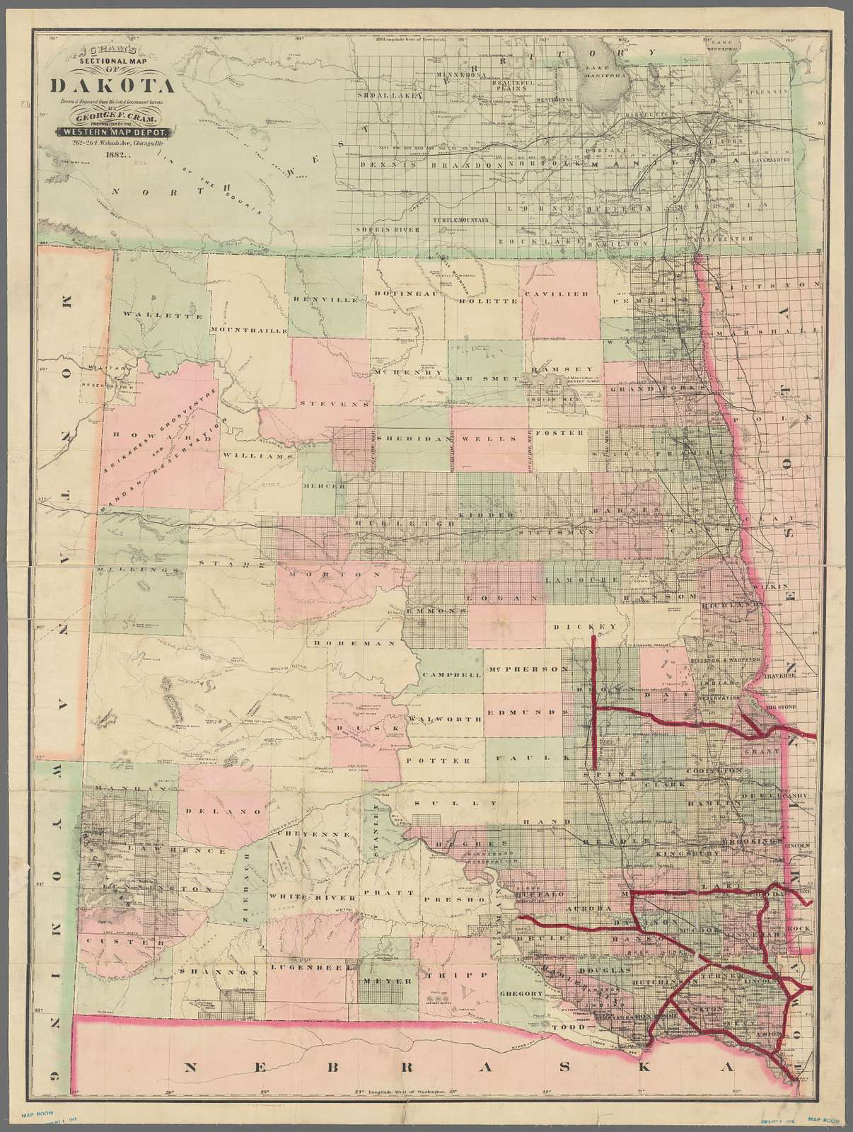 Cram's sectional map of Dakota