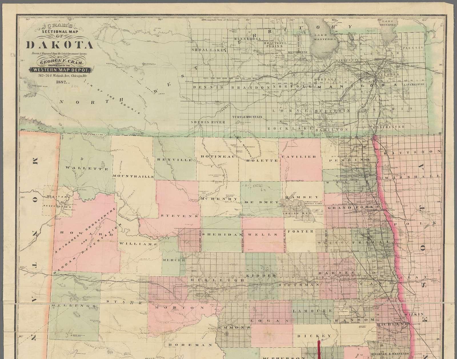 Cram's sectional map of Dakota