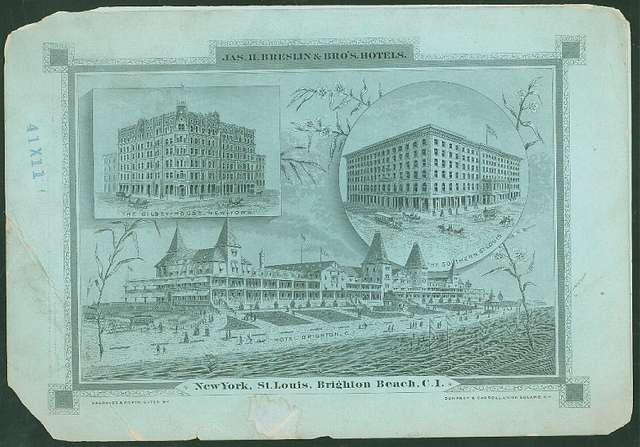 "DAILY MENU [held by] JAS. II. BRESLIN & BRO'S. HOTELS [at] ""BRIGHTON BEACH, C.I. [NEW YORK]"" (RESORT HOTEL)"
