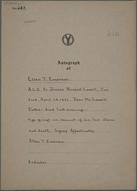 Ellen T. Emerson, ALS to [James Russell] Lowell. Apr. 28, 1882.