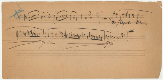Fragment of a cello part for the Trio, op. 87