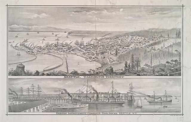 Seattle, Washington Territory ; Oregon Improvement Company's coal docks, Seattle, W.t.