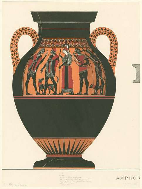 Archaic Attic amphora depicting Hermes and Athena, at center, escorting Herakles, with club and bow, to meet Zeus, left, on Olympos