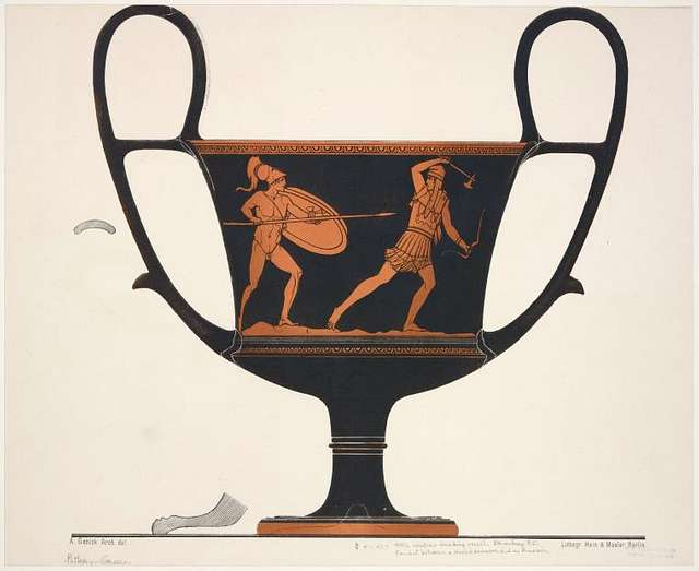 Attic kantharos with Greek warrior and Amazon, 5th century B.C.