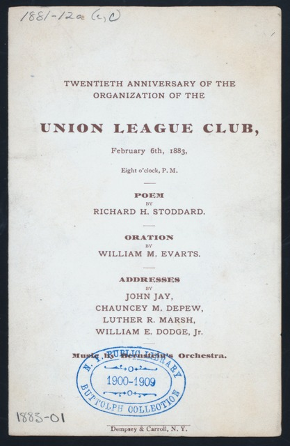 "COMPL. [held by] UNION LEAGUE CLUB [at] ""NEW YORK, NY"" (REST;)"