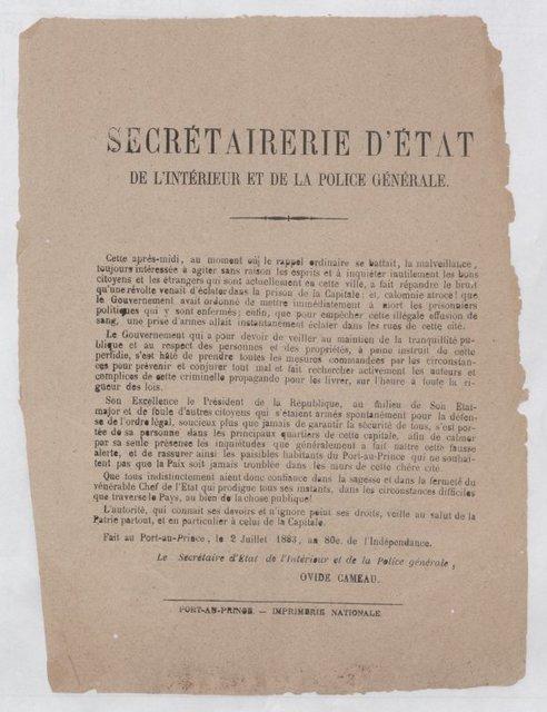 Ovide Cameau public declaration