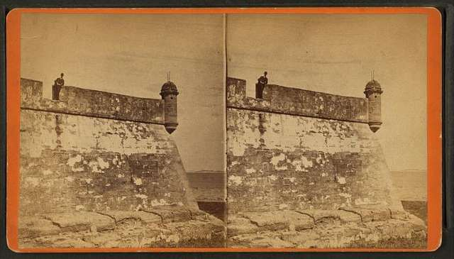 Fort Marion, (east point) showing parapet walls and sentry box. St. Augustine, Fla.