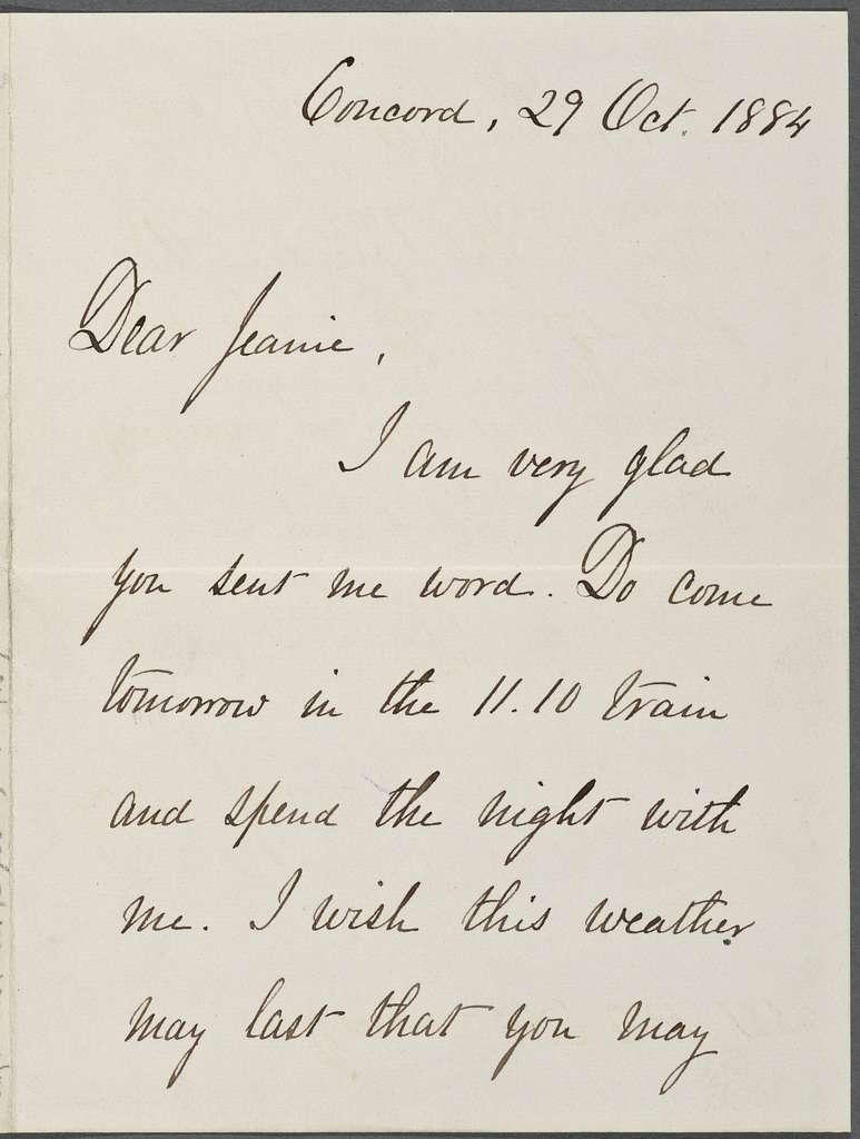 Ellen T. Emerson, ALS to J[ean] T. Chapin. Oct. 29, 1884.