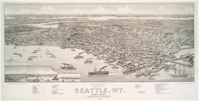 Bird's eye view of the city of Seattle, Wt.