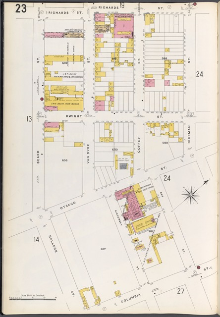 Brooklyn Plate No. 23 [Map bounded by Beard St., Richards St., Dikeman St., Bay St., Columbia St.]