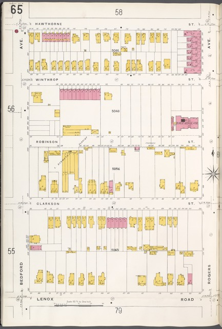 Brooklyn V. 10, Plate No. 65 [Map bounded by Hawthorne St., Rogers Ave., Lenox Rd., Bedford Ave.]