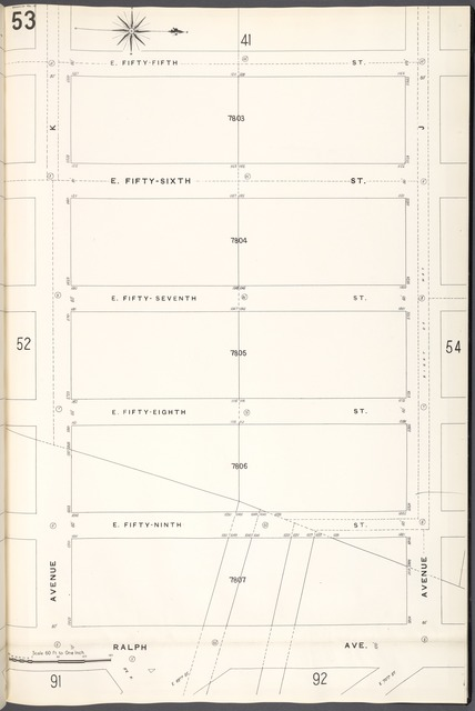 Brooklyn V. 15, Plate No. 53 [Map bounded by E.55th St., Avenue J, Ralph Ave., Avenue K]
