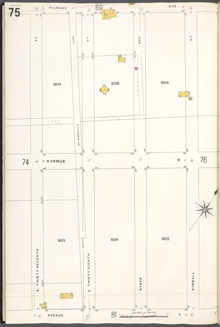 Brooklyn V. 15, Plate No. 75 [Map bounded by Fillmore Ave., Kimball St., Avenue T, E.37th St.]