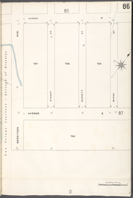 Brooklyn V. 15, Plate No. 86 [Map bounded by Avenue W, Marsh St., Avenue X, Gerritsen Ave.]