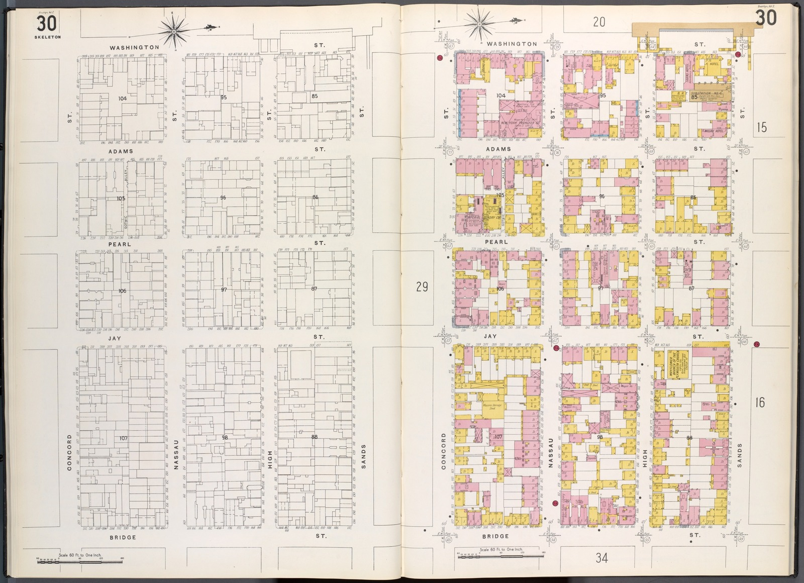 Brooklyn V. 2, Plate No. 30 [Map bounded by Concord St., Washington St., Sands St., Bridge St.]