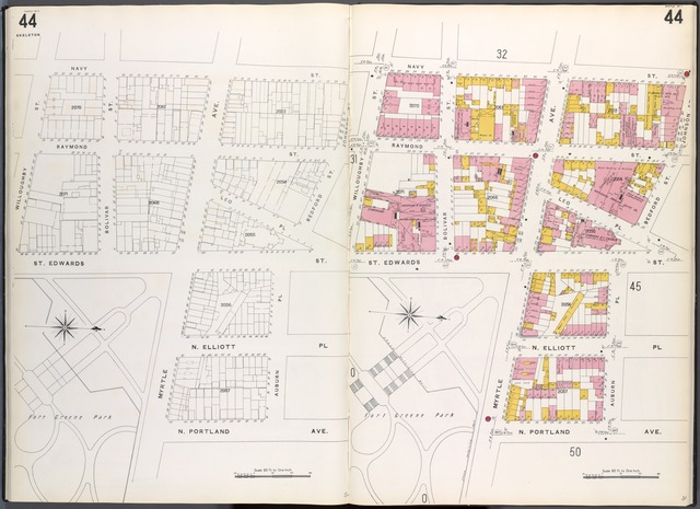 Brooklyn V. 2, Plate No. 44 [Map bounded by Willoughby St., Navy St., Bedford St., Johnson St., Auburn St., N.Portland Ave., Myrtle Ave., St. Edwards St.]