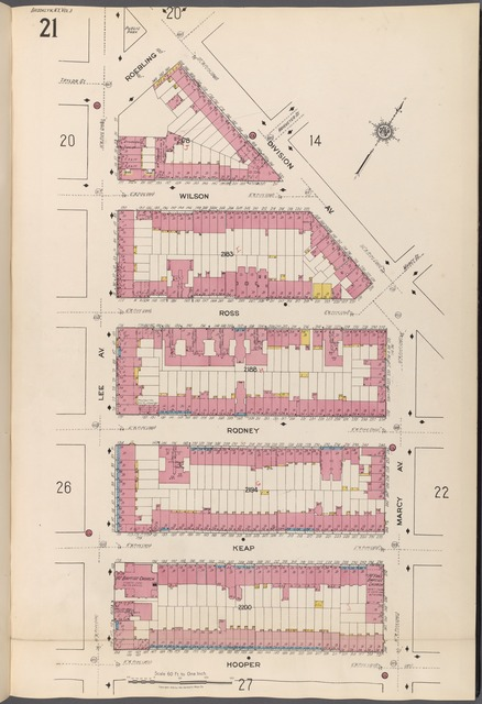 Brooklyn V. 3, Plate No. 21 [Map bounded by Roebling, Division Ave., Marcy Ave., Hooper, Lee Ave.]
