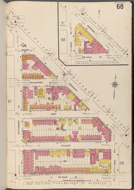 Brooklyn V. 3, Plate No. 68 [Map bounded by Vernon Ave., Broadway, Reid Ave., De Kalb Ave., Stuyvesant Ave.]