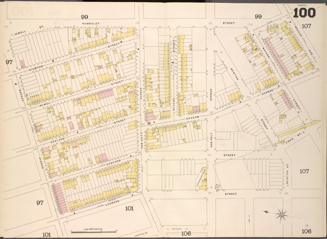 Brooklyn V. 4, Double Page Plate No.100 [Map bounded by Humboldt St., Meeker Ave., Newton St., Leonard St., Nassau Ave.]