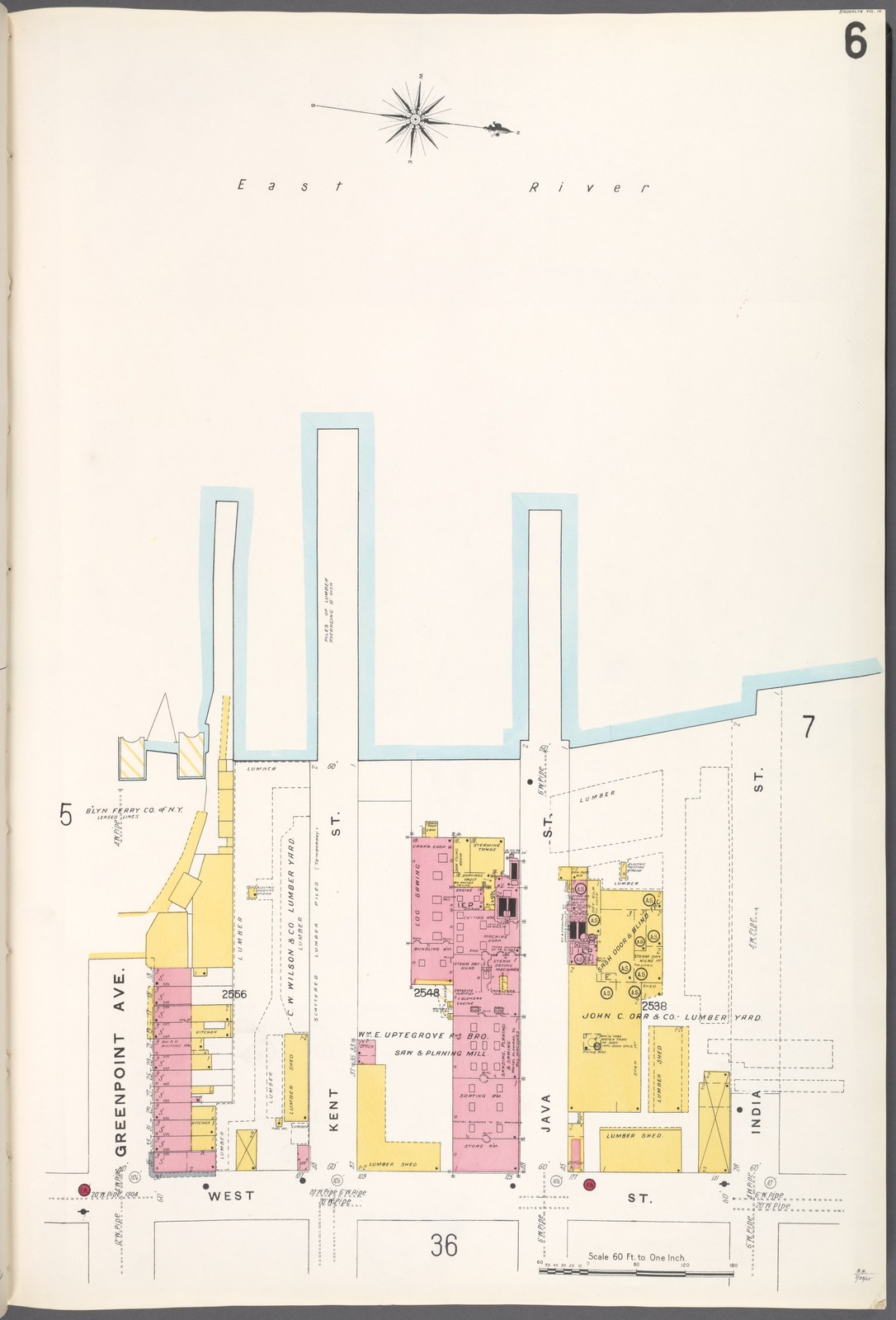 Brooklyn V. 4, Plate No. 6 [Map bounded by East River, India St., West St., Greenpoint Ave.]