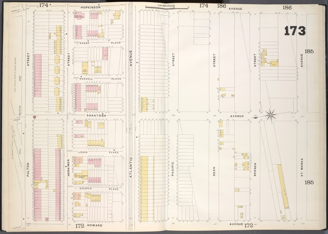 Brooklyn, V. 7, Double Page Plate No. 173 [Map bounded by Hopkinson Ave., St. Marks Ave., Howard Ave., Fulton St.]