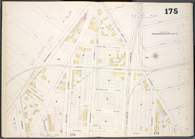 Brooklyn, V. 7, Double Page Plate No. 175 [Map bounded by Broadway, East New York Ave., Sackman St., Somers St.]