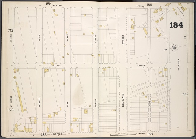Brooklyn, V. 7, Double Page Plate No. 184 [Map bounded by Howard Ave., Parkway, Buffalo Ave., St. Marks Ave.]