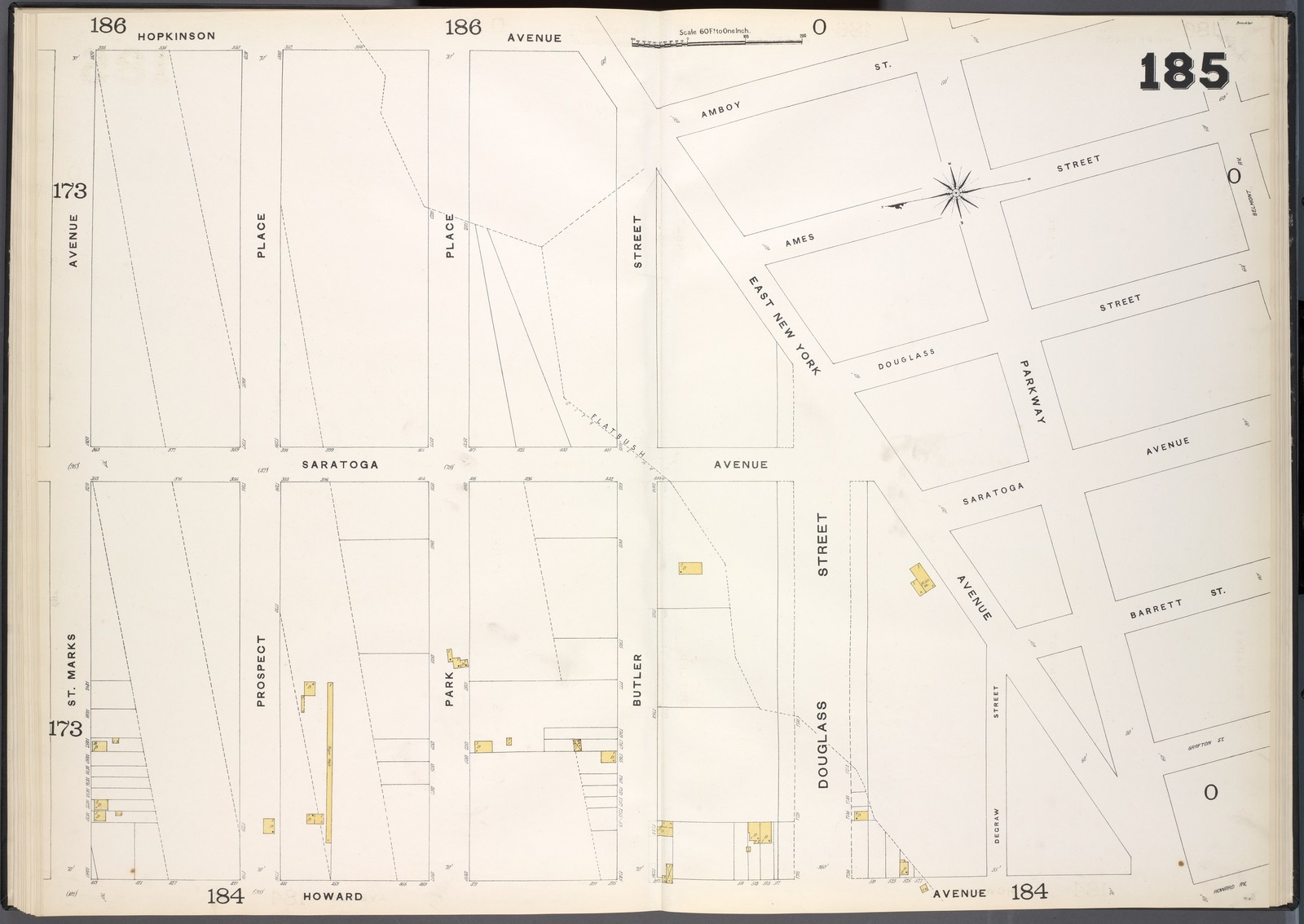 Brooklyn, V. 7, Double Page Plate No. 185 [Map bounded by Hopkinson Ave., Belmont Ave., Howard Ave., St. Marks Ave.]
