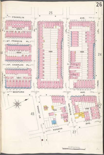 Brooklyn V. 7, Plate No. 26 [Map bounded by Franklin Ave., Park Pl., Rogers Ave., Lincoln Pl.]