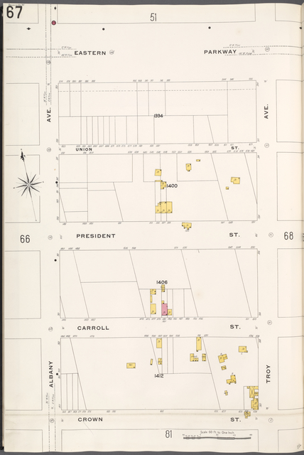 Brooklyn V. 7, Plate No. 67 [Map bounded by Eastern Parkway, Troy Ave., Crown St., Albany Ave.]
