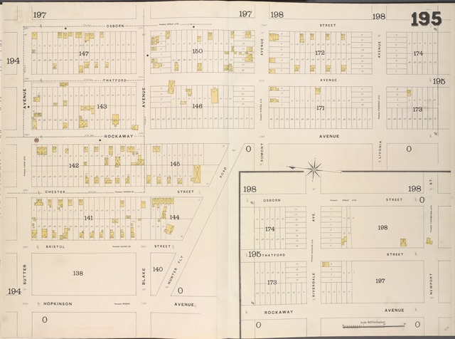 Brooklyn, V. 8, Double Page Plate No. 195 [Map bounded by Osborn St., Newport St., Rockway Ave., Hopkinson Ave., Sutter Ave.]
