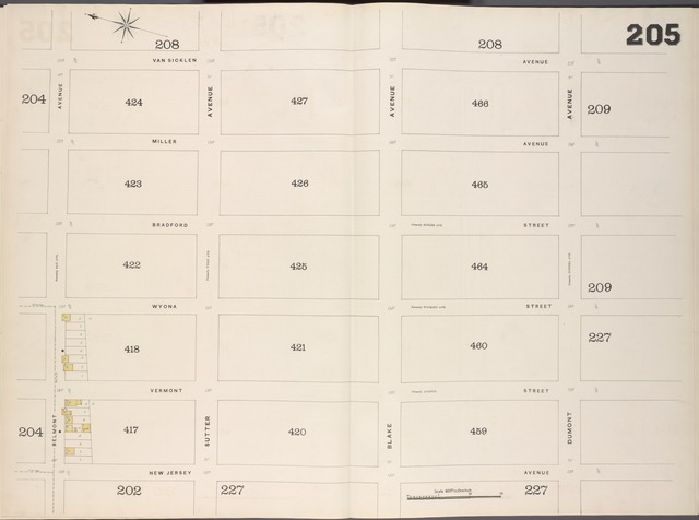 Brooklyn, V. 8, Double Page Plate No. 205 [Map bounded by Van Sicklen Ave., Dumont Ave., New Jersy Ave., Belmont Ave.]