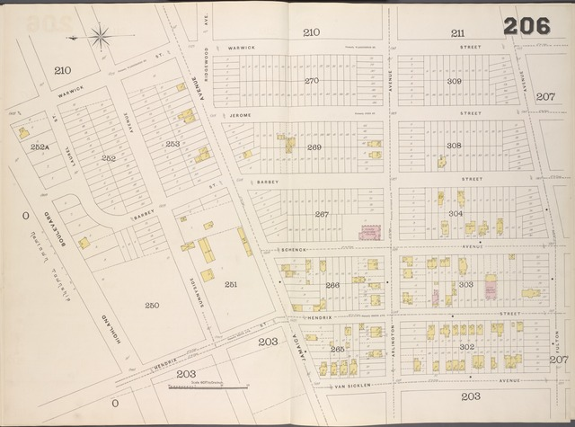 Brooklyn, V. 8, Double Page Plate No. 206 [Map bounded by Warwick St., Fulton Ave., Van Sicklen Ave., Highland Blvd.]