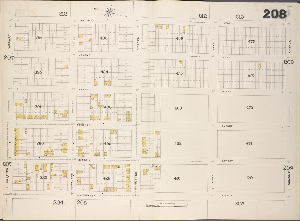 Brooklyn, V. 8, Double Page Plate No. 208 [Map bounded by Warwick St., Dumont Ave., Van Sicklen Ave., Eastern Parkway]