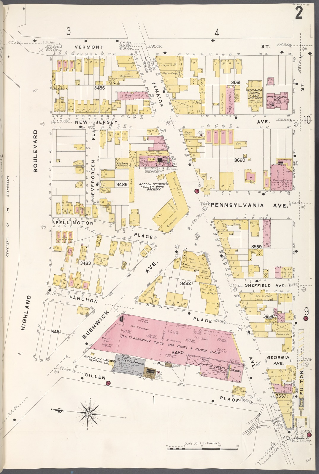 Map Of New York And Vermont.Brooklyn V 8 Plate No 2 Map Bounded By Vermont St Fulton St