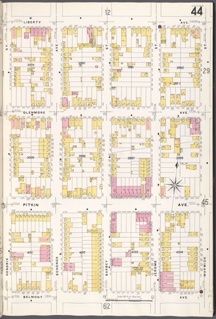 Brooklyn V. 8, Plate No. 44 [Map bounded by Liberty Ave., Warwick St., Belmont Ave., Hendrix St.]