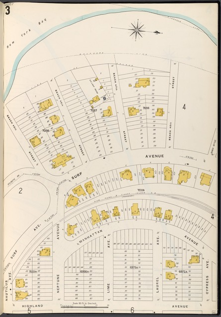 Brooklyn Vol. B Plate No. 3 [Map bounded by New York Bay, Cypress Ave., Highland Ave., Surf Ave.]