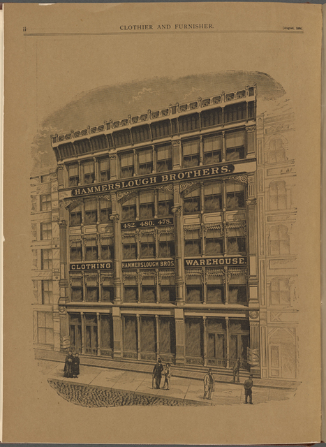 Exterior of Hammerslough Brothers Clothing Warehouse