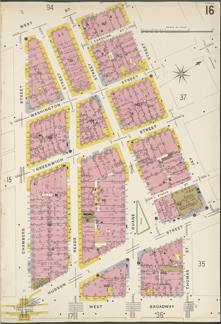 Manhattan, V. 1, Plate No. 16 [Map bounded by West St., Jay St., West Broadway, Chambers St.]