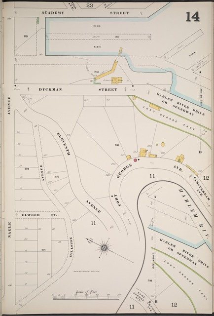 Manhattan, V. 12, Plate No. 14 [Map bounded by Academy St., Nagle Ave.]
