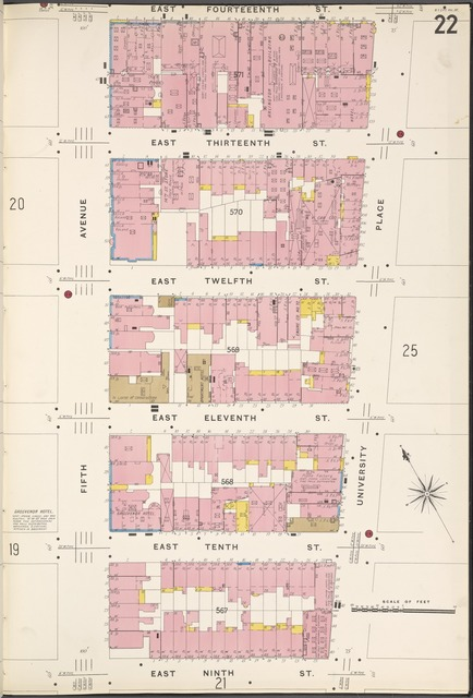 Manhattan, V. 3, Plate No. 22 [Map bounded by E. 14th St., University Place, E. 9th St., 5th Ave.]