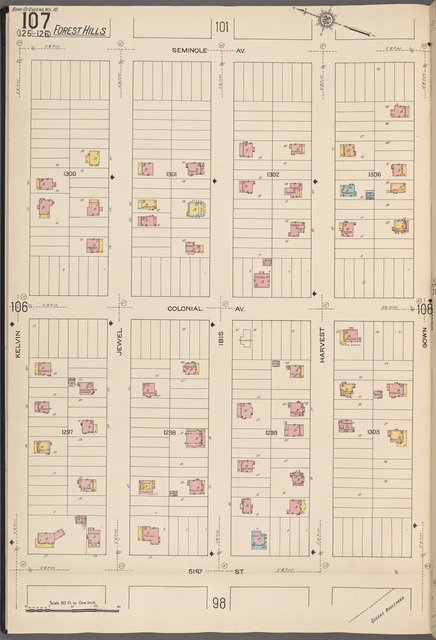 Queens V. 10, Plate No. 107 [Map bounded by Seminole Ave., Gown, 51st St., Kelvin]