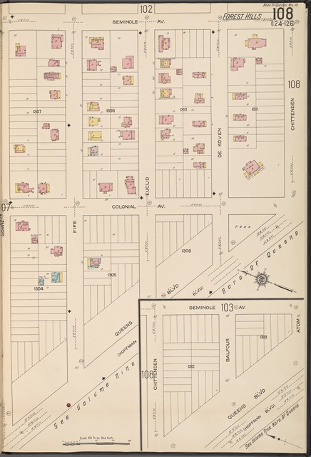Queens V. 10, Plate No. 108 [Map bounded by Seminole Ave., Chittenden, Queens Blvd, Gown]