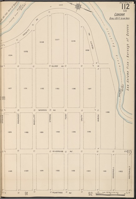 Queens V. 10, Plate No. 112 [Map bounded by Hewitt Ave., Flushing Creek, Peartree Ave., Opdyke]