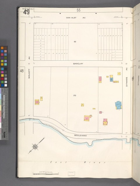 Queens V. 2, Plate No. 49 [Map bounded by Van Alst Ave., Ditmars Ave., Boulevard, Wolcott Ave.]