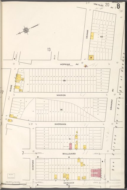 Queens V. 2, Plate No. 8 [Map bounded by Van Alst Ave., Graham Ave., Hancock, Ridge]